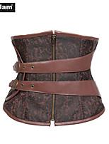 I-Glam Rock Faux Leather Belt Brocade Steam Punk Floral Corset Brown