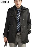 Men's Casual/Work Pure Long Sleeve Regular Trench coat (Cotton Blend) XKS7C19
