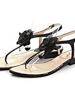 Women's Shoes Leather Flat Heel Flip Flops Sandals Outdoor Black