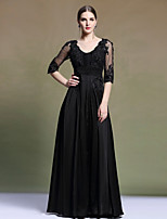 Formal Evening Dress A-line V-neck Floor-length Chiffon/Satin Dress Party Dress