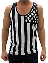 Men's Short Sleeve Vest , Cotton Blend Casual/Work/Sport Print/Striped