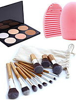 11pcs Makeup Cosmetic Eyebrow Foundation Kabuki Brushes Kits+6 Colors Face Powder Makeup Palette+Brush Cleaning Tool