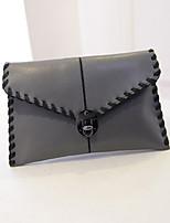 Women 's PU Envelope Clutch - White/Gray/Black
