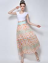 Women's Floral Skirts , Print/Maxi Maxi
