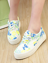 Women's Shoes Canvas Flat Heel Comfort/Round Toe Fashion Sneakers Casual Black/Blue/Orange