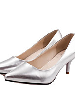 Women's Shoes Faux Leather Low Heel Pointed Toe Pumps/Heels Office & Career/Dress Black/White/Silver