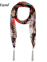 D Exceed Rtro National Wind Multiuse Scarf for Women Chiffon Flower Printing Jewelry Scarves