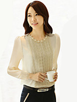 Women's Sexy/Lace Inelastic Long Sleeve Regular Shirt (Cotton Blends)