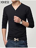 Men's Casual/Work Pure Long Sleeve Regular T-Shirt (Cotton)XKS7B18