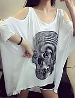 Women's Solid/Patchwork White T-shirt , Round Neck Short Sleeve