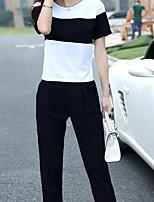 Women's Casual Inelastic Short Sleeve Regular two piece (Chiffon)