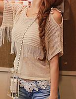 Women's Sexy Casual Cute Micro Elastic ½ Length Sleeve Regular Shirt (Knitwear)