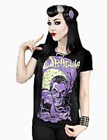 Women's Print Black T-shirt , Round Neck Short Sleeve