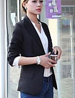 Women's Solid White/Black/Brown Blazer , Casual/Work Shirt Collar Long Sleeve Pocket