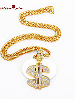 WesternRain Fashion New Necklaces for Men Hip Hop 18K Gold Jewelry Long USD Letter S Pendant Necklace