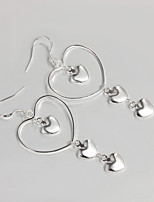 Wedding Dress Heart Design Silver Plated Drop Earrings for Lady
