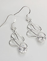 Wedding Dress 925 Silver Plated Drop Earrings for Lady with Zircon