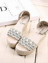 Women's Shoes Faux Leather Wedge Heel Wedges/Round Toe Sandals Casual Blue/Pink/White