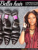 Tissage de Brésiliens cheveux humains, vague lâche, cheveux vierges non traités, 3pcs/lot  Weave Double Weft