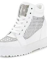 Zapatos de mujer - Tacón Cuña - Punta Redonda - Tacones - Casual - Tul - Blanco / Plata
