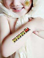 5Pcs Super Meng Children Tattoo Stickers Affixed Waterproof Cartoon Elephant Pony Train Sun Hot Air Balloon