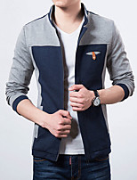 Men's Casual/Plus Sizes Pure Long Sleeve Regular Jacket (Cotton)