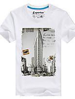 Men's European Style 3D Building Printing T-Shirt (Cotton)