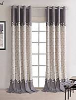 (One Panel)Neoclassical Printing Natural Linen Gray Wave Room DarkeningCurtain