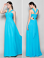 Brautjungfernkleid - Blau Chiffon - Etui-Linie - bodenlang - Neckholder