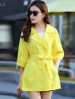 依非拉朵  Women's Vintage/Beach/Casual/Cute/Party/Work Opaque ½ Length Sleeve Long Trench Coat (Polyester)