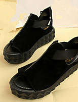 Women's Shoes Faux Leather Flat Heel Creepers Sandals Casual Black