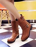 Chaussures Femme - Bureau & Travail / Habillé / Décontracté - Noir / Marron - Talon Bas - Bout Arrondi - Bottes - Similicuir