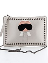 Women 's PU Envelope Clutch - Silver/Black