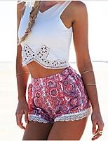 Women's Vintage/Beach Micro-elastic Sleeveless Short T-shirt 2 Pieces a Set(Polyester/Cotton Blends)