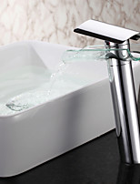 Chrome Finish Waterfall Glass Spout Bathroom Sink Faucet