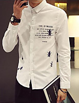 Men's Casual Print Long Sleeve Regular Shirt (Cotton)