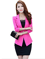 Women's Solid White/Black/Yellow Blazer , Sexy/Party Shirt Collar Long Sleeve