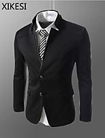 Men's Casual/Work Pure Long Sleeve Regular Blazer (Cotton Blend) XKS7A08
