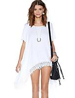 Women's Casual Micro Elastic Short Sleeve Long T-shirt (Cotton)