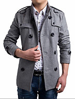 Men's Casual/Plus Sizes Pure Long Sleeve Long Coat (Tweed)