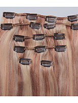 18 Inch 7Pcs/70g Clip in Brazilian Human Hair Extensiiion Silky Straight #12/613
