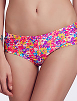 The Fille Women's Cute Fluorescent Pink Bowknot/Mid Waist/ Retro Floral Bikini Panties