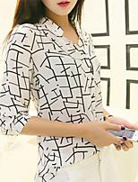 Women's Print White Shirt , Round Neck ½ Length Sleeve