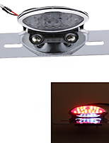 Motorcycle 19 LED Tail License Plate Rear Red White Light 12V Universal Silver  (1 Pc)