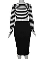 Women's Striped Multi-color Set , Round Neck Long Sleeve