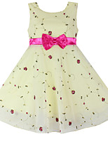 Girl's  Flower Print Tulle Party Pageant Bridesmaid Wedding Kids Clothing Princess Dresses