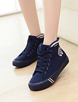 Chaussures Femme Toile Talon Plat Confort/Bout Arrondi Baskets à la Mode Extérieure/Décontracté Noir/Bleu/Rouge/Taupe