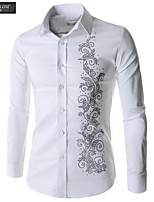JESUNLOM®Man's Shirt Fashion Long Sleeve Diamante Totem Slim Shirt Korean Style Young Man All-Match Top Shirt