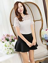 xiw&F Women's Casual/Lace Mesh Short Sleeve  T-shirt (Chiffon/Mesh)