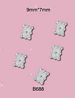 B688 9mm*7mm 10pcs/lot New Nail Art Studs Square Shape Silver Nail Alloy Metal Decorations DIY Jewelry Rhinestones